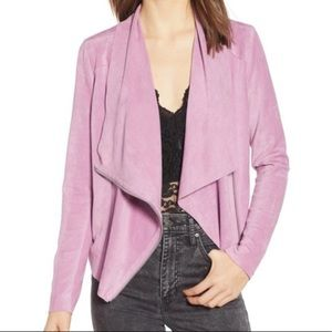 Blank NYC | Lilac Faux Suede Draped Front Jacket